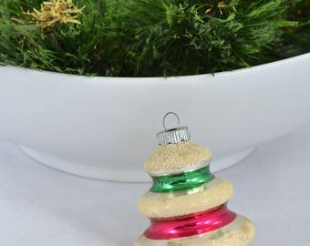 Vintage Shiny Brite Glass Tiered Tree Christmas Ornament With Mica, Bell Shape Ornament
