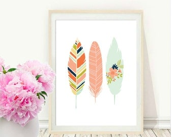 Pink Feather Print, Printable Art, Feather Art Print, Watercolour, Feather Art, Pink Wall Art, Digital Download, Modern Wall Art, Home Decor