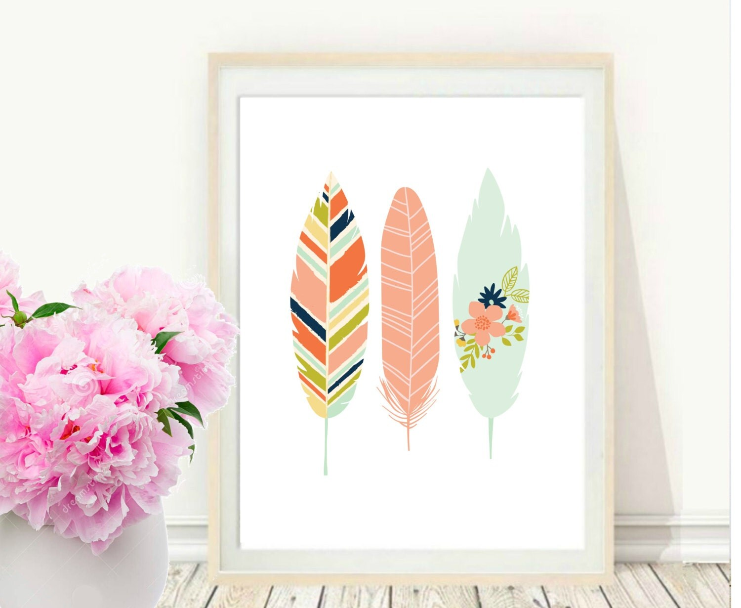 Feather Wall Art pink feather print printable art feather art print