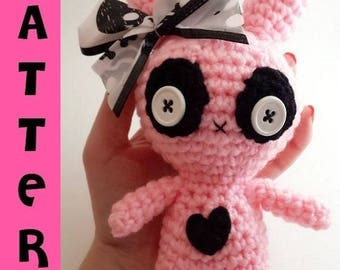 Creepy Cute Stuffed Animal - Crochet Pattern - Zombie Amigurumi - Chibi Bunny - Instant Digital Download PDF