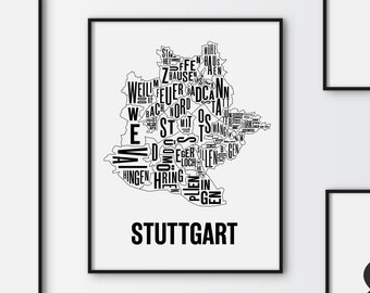 Stuttgart Citymap Poster, Germany Map, Graphic Art, Print, Gift, Stadtplan