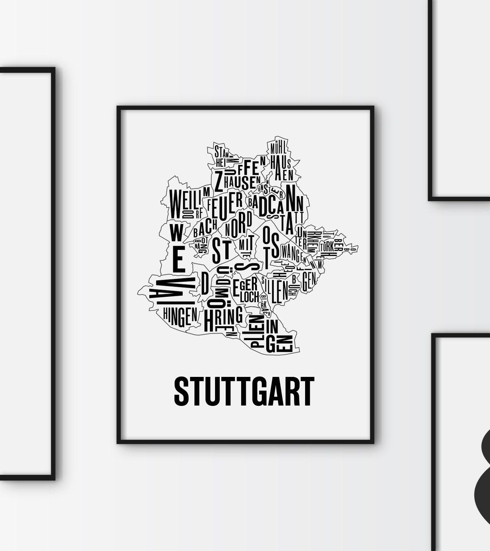 stuttgart stadtplan poster deutschland karte grafik druck. Black Bedroom Furniture Sets. Home Design Ideas