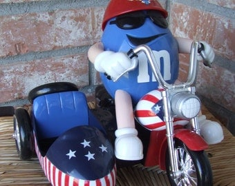 """M & M's Candy Dispenser, Candy Dispenser, Vintage M and M's """"Freedom Rider"""" Candy Dispenser, Mr. Blue M on his motorbike with side car"""