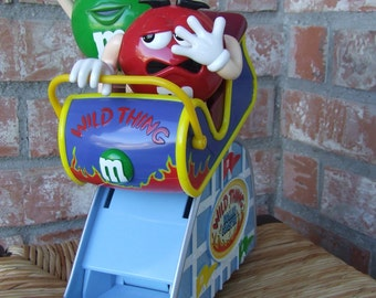 M&M's Candy Dispenser, Vintage M and M Wild Thing Roller Coaster Candy Dispenser, Ms. Green (Wild Thing!) and Mr. Red, Collectible M and M's