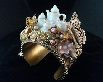 Statement Cuff | Tea Party Jewelry | Alice in Wonderland Jewelry |  Couture Jewelry | Alice Jewelry | Steampunk Jewelry | Pink Jewelry