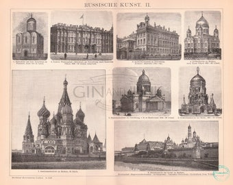 Antique Russian Architecture Print - Featuring Various Russian Buildings, Statues and elements of design from 1890