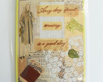 Vintage Sewing Pattern Inspired Greetings Card