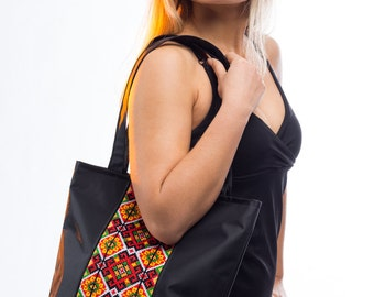 Large black tote bag / Canvas tote with Ukrainian embroidery / Black Canvas Tote Bag / Black canvas shoulder handbag / Ukrainian gift