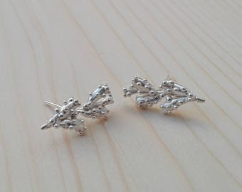 Lavander Branch Silver Earrings, Sterling Silver Earrings, Nature Earrings, Handmade Earrings, Botanical Earrings,  Stud silver Earrings