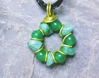 Green Jade gemstone circle handwired pendant