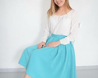 Pleated women skirt A-line skirt Turquoise women skirt Midi women skirt Flared skirt Pleats women skirt Summer skirt Pleated skirt for women