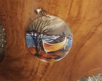 Canoe Hand-Painted Mother of Pearl Pendant