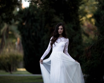 Long Sleeve Wedding Dress, Lace Sleeve Wedding Dress with Chiffon and Soft English Tulle Skirt - Keira Dress