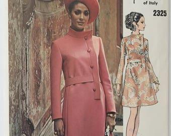 Original 70s Vogue Couturier Design 2325 Fabiani Mod A-Line Dress Sewing Pattern Size 12 Uncut FF Label
