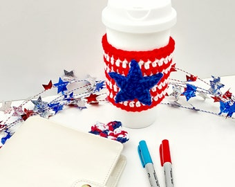 Red, White, and Blue Crochet Cup Cozy: Coffee/Tea Sleeve with star     [106]