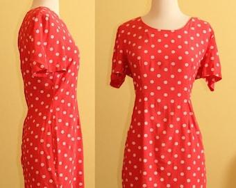 80s My Michelle Pink Polkadot Mini Dress, size 6 (medium)
