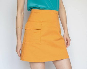 SALE! A-Line Mini Skirt, Orange Mini Skirt, Mod Skirt 60s, Preppy Clothing