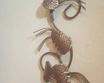 Metal Pine Cone Sconce, Candle Holder, Woodland Rustic Decor, Bronze and Gold Wall Hanging