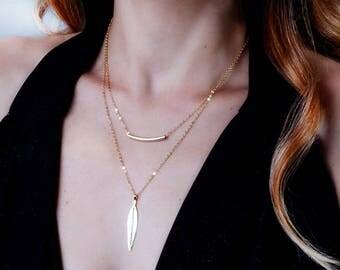 Leaf Necklace, Long Gold Necklace, Diamond Leaf Necklace, CZ Gold Necklace, Diamond Pendant Necklace, Gold Filled Necklace, Dainty Necklace