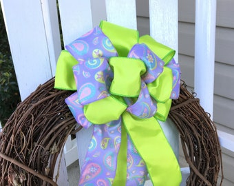 Deluxe Bow for Wreath, Wreath Bow, Large Interchangeable bow, Purple Paisley Bow