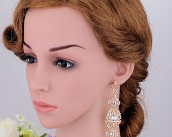 Gold wedding earrings Rhinestone bridal Earrings Swarovski Earrings Gold Bridal earrings Gold Bridal Earrings Gold chandelier earrings