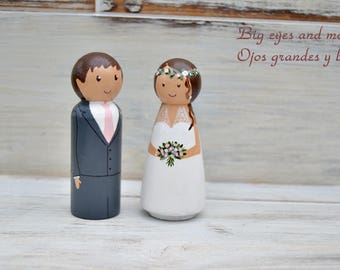Wedding Cake Topper Figurines Personalized Bride and Groom Cake Topper, Wooden Peg Doll Wedding Cake Topper, Custom Wedding Cake Topper