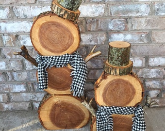 Natural Tree Wood Snowman with Bark