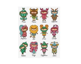 Horoscope People - Set of 12 - Durene J Cross Stitch Patterns