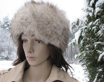 Retro winter HAT silver fox fur CAP women VINTAGE Czechoslovakian hat