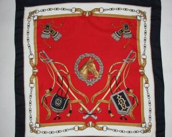 Vintage SCARF Riding Horse decor  SHAWL elegant royal pattern scarf red