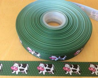 Cow ribbons, farm ribbons, farm animal ribbons, 7/8 inch Grosgrain ribbons