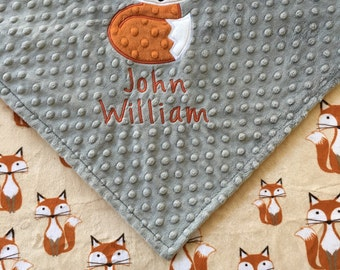 Fox Baby Blanket, Fox Minky Baby Blanket, Grey Minky Blanket, Double Minky Blanket, Fox Theme, Baby Shower Gift, Personalized Blanket