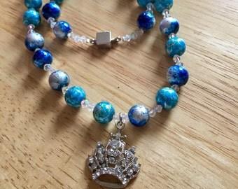 Blue & Silver Crown Necklace