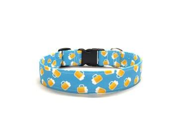 Pub Crawl Dog Collar, Beer dog collar, funny dog collar, blue dog collar