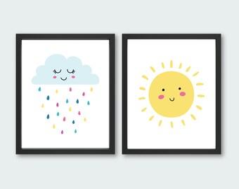 Children's Wall Art - Instant Download  - Sunshine Print - Rain Drops Print - You are my Sunshine - Baby Wall Prints - Bedroom Wall Art