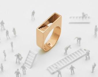 Stair Ring (Brass, Bronze 3D Printed Architecture Ring)