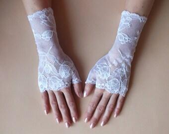 White Fingerless Gloves\Lace gloves\ Fingerless Lace Gloves\White gloves\ Bridal gloves White\Fingerless gloves