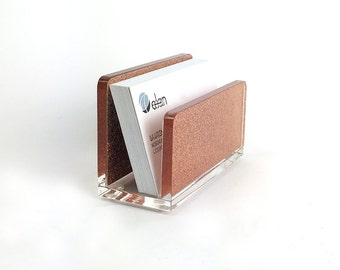 Business Card Holder-Acrylic-Rose Gold-Copper-Glitter-Desk-Accessory-Made in USA