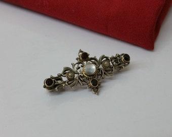 Antique brooch 835 silver Pearl Garnet agate SB119