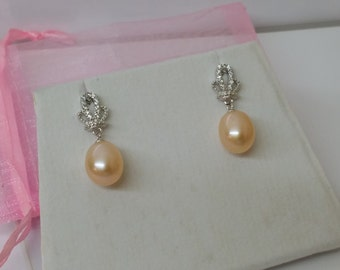 Silver 925 earrings earrings Pearl chamagnerfarben vintage SO146
