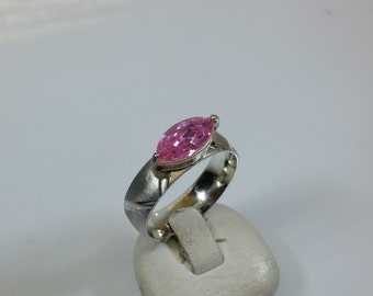 19 mm ring 925 Silver matte glossy Crystal SR567