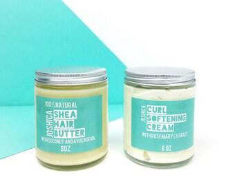 Natural Hair Care Set| Coconut Brazilian Mango Shea Hair Butter & Rosemary Lime Curl Softening Cream| Vegan| Natural Hair Care| Kinky-Curly