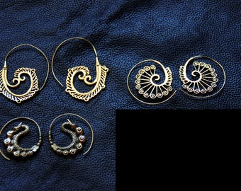 SALES 2017 !!!!BRONZE EARRINGS - Tribal - Ethnic - Boho - Gypsy - Travel - Spiral - Design - Unique - Dragon - Pixies - Fairy