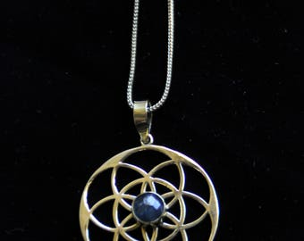 SALES !!!Sacred Geometry - Labradorite Flower Of Life Chain - Bronze - Design - Gems - Tribal - Ethnic - Yoga - Spirit -Veg - Boho - Mandala