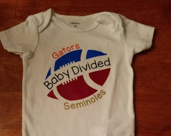 Baby Divided--Football Teams Girl or Boy Onesie--Pick Any 2 Teams