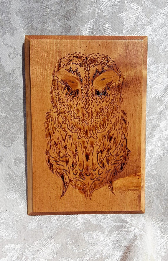 Celtic style owl - etched and pyrographed