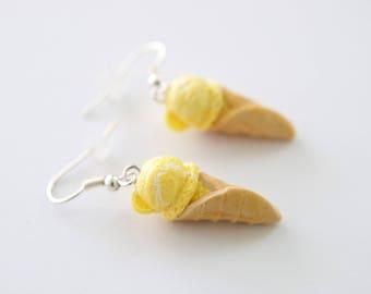 Lemon Swirl Ice Cream Cone Earrings, Food Jewelry - Miniature Food Jewelry - Ice Cream Earrings - Food Earrings