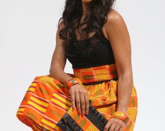 Kente skirt set - Kente Skirt - African print skirt set - Ghana kente - Knee length - Maxi - Handmade - H Flair