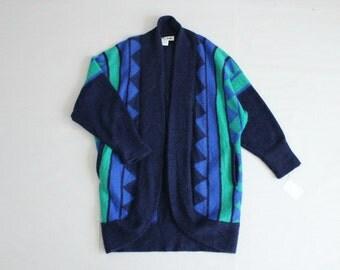cocoon sweater | geometric sweater | neon blue sweater