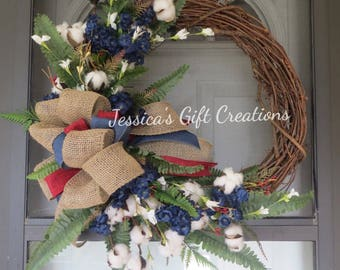 Made to Order Cotton Grapevine Wreath/Farmhouse Wreath/Primitive/Front Door Wreath/Everyday/Welcome/Monogram/Summer/Year Round/All Season